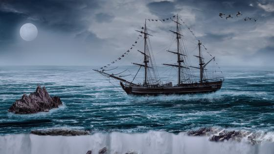 Barque in the moonlight wallpaper