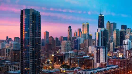 Chicago skyline with John Hancock Center wallpaper