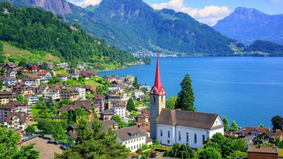 Lake Lucerne and The Parish of St. Mary's Church wallpaper