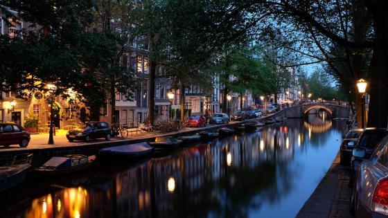 Amsterdam at dawn wallpaper