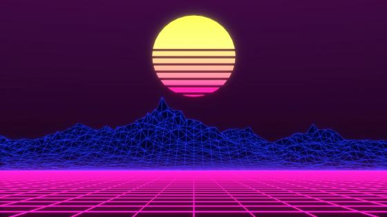 Retrowave low poly art wallpaper