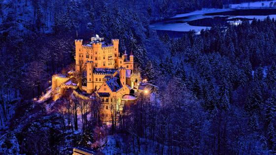 Hohenschwangau Castle at dusk wallpaper