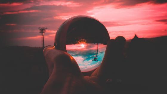 Crystal clear glass ball wallpaper