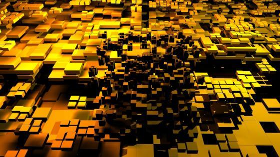 Yellow 3D cubes wallpaper