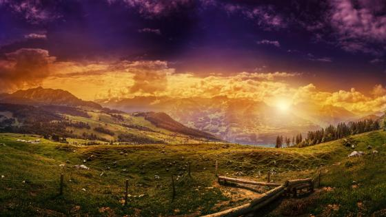 Beautiful landscape at sunset wallpaper