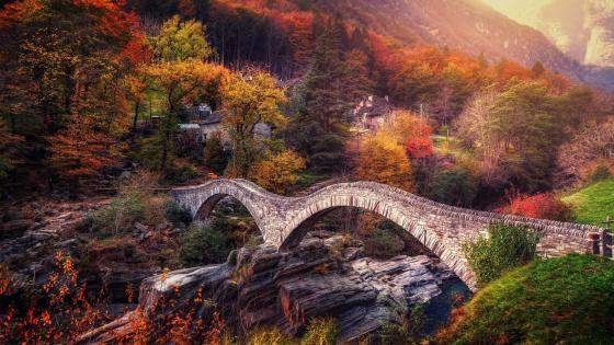 Ponte dei Salti at fall (Switzerland) wallpaper