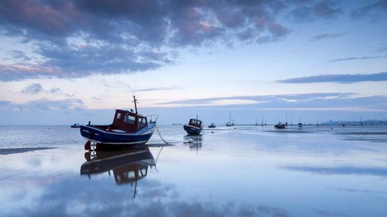 Boats at low tide wallpaper