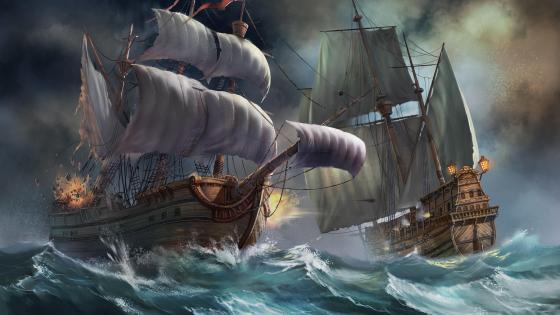 Sea battle wallpaper