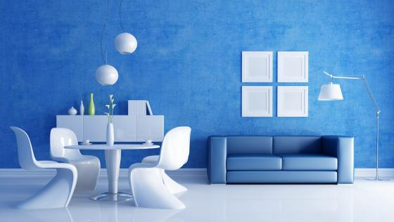 Blue living room wallpaper