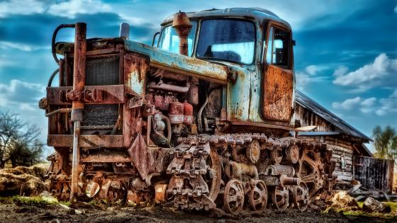 Tracked vehicle wreck wallpaper