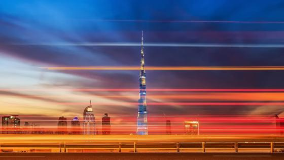 Burj Khalifa with light trails wallpaper