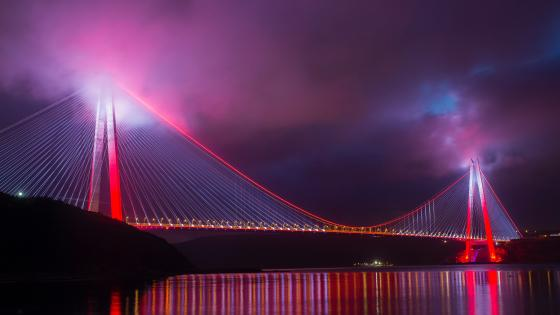 Yavuz Sultan Selim Bridge at night wallpaper