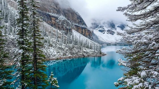 Moraine Lake in winter wallpaper