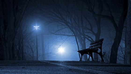 Bench in the dark wallpaper