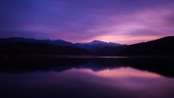 Purple mountain lake reflection wallpaper