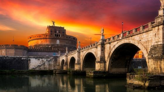 Castel Sant'Angelo and Ponte Sant'Angelo(Rome) wallpaper