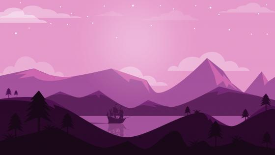 Minimalist landscape illustration wallpaper