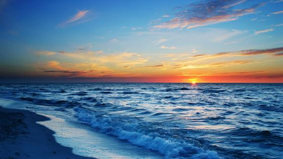 Seashore sunset wallpaper