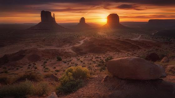 West and East Mitten Buttes at sunset wallpaper