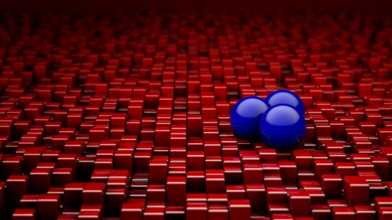 Red cubes and blue balls wallpaper