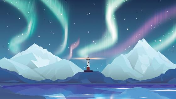 Lighthouse and polar lights graphics wallpaper