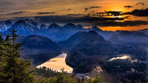 Bavarian Alps and the Hohenschwangau Castle in the distance wallpaper