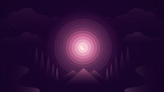 Purple moonlight minimal abstract art wallpaper