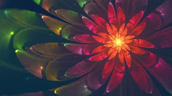 Floral fractal wallpaper