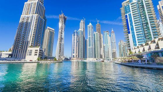 Blue sky over Dubai wallpaper