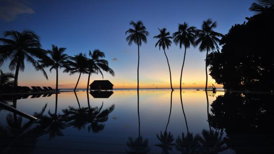 Maldives sunset reflection wallpaper