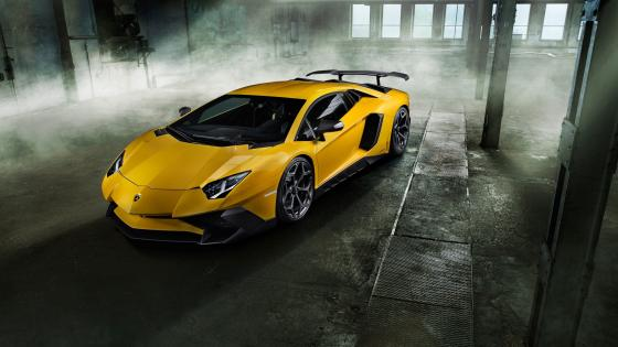 Yellow Lamborghini Aventador wallpaper