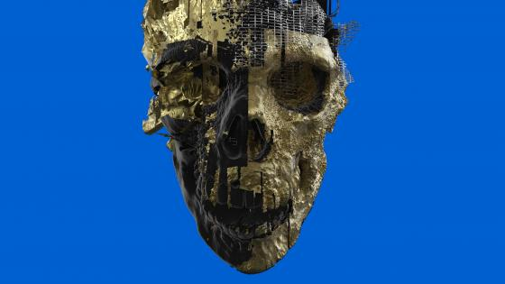 Humanoid robot skull wallpaper