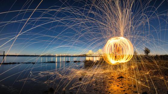 Light circles - Long Exposure photography wallpaper