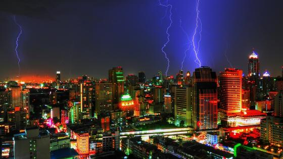 Storm over the city wallpaper