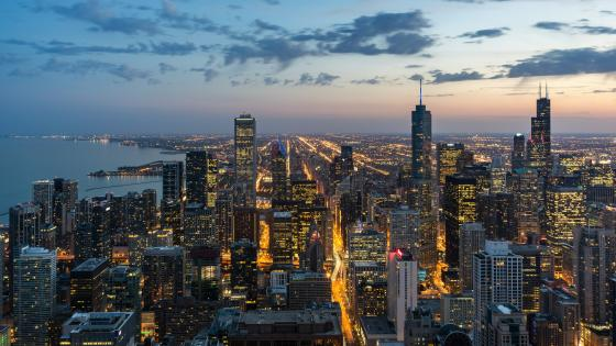 Chicago city lights wallpaper