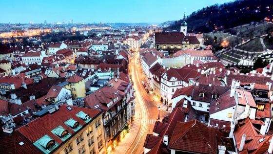 City lights in Prague wallpaper