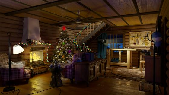 Christmas tree beside the fireplace wallpaper
