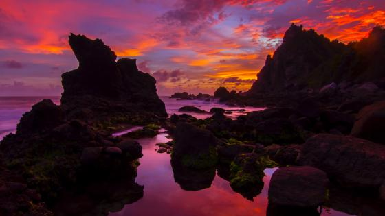 Sea stacks in the Indian Ocean at sunset wallpaper