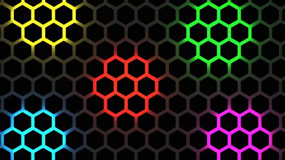 Multicolor honeycomb pattern wallpaper