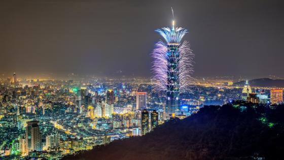 Taipei skyscrapers and fireworks wallpaper