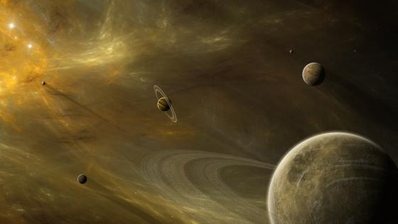 Planets in the universe - Fantasy space art wallpaper