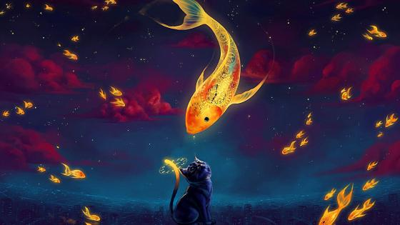 Cat and goldfish - Fantasy art wallpaper