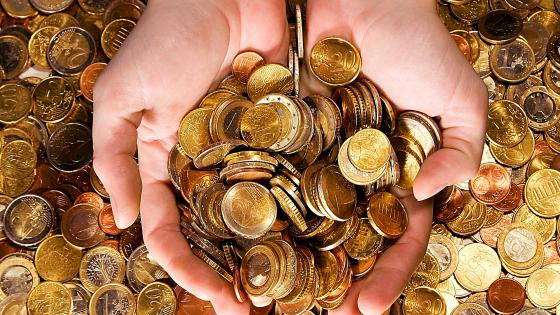 Handful of money euro cent coins wallpaper