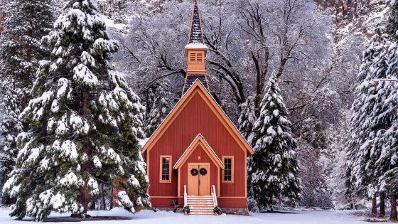Yosemite Valley Chapel in the Christmas season wallpaper