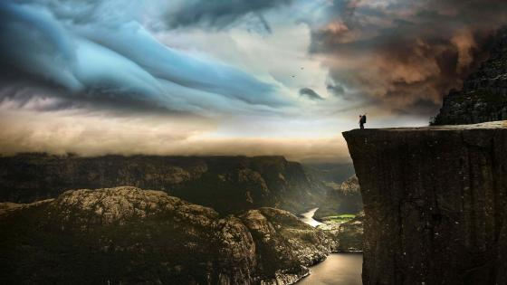 Base jumping from Preikestolen wallpaper