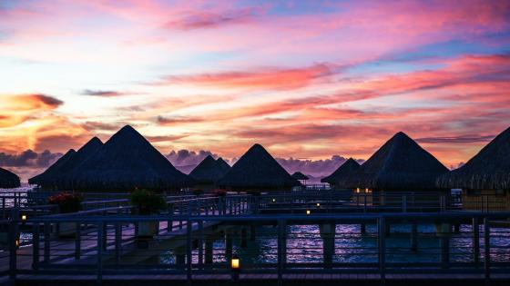 Bora Bora sunset wallpaper