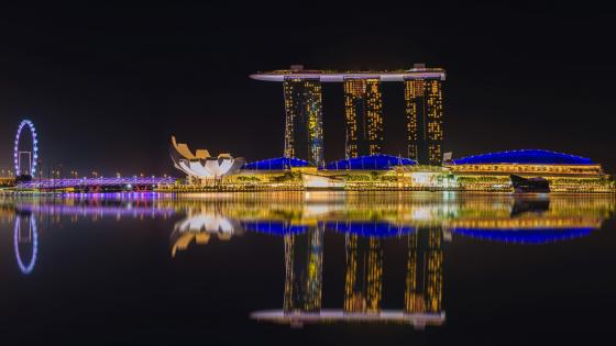Marina Bay Sands at night wallpaper