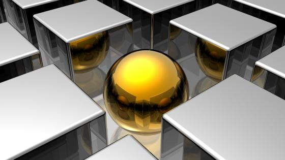 3D gold ball between the silver cubes wallpaper