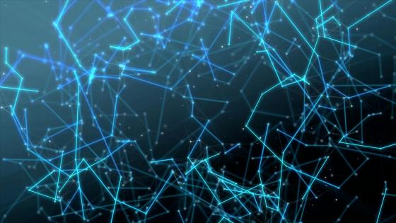 Blue molecule network wallpaper