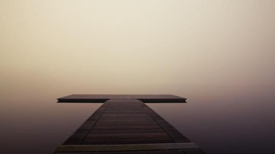 Jetty in the calm lake wallpaper